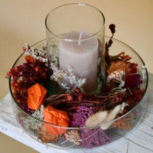 Őszi virágos üvegdekor